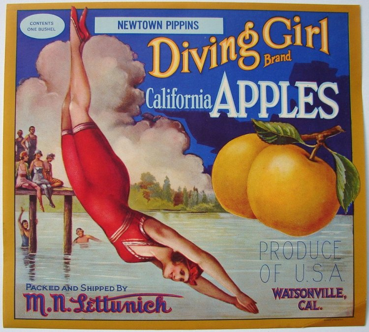 California fruit growers appealed to eastern consumer's ideas about the west coast as a paradise, and often featured pictures of attractive women enjoying the outdoors, or beautiful landscapes of fertile valleys bounded by mountains and sea.