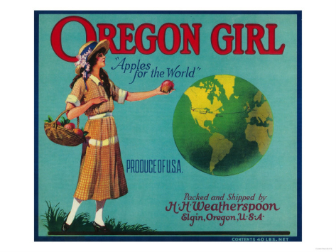 """This """"Oregon Girl"""" label anticipates the transition to a global apple market."""