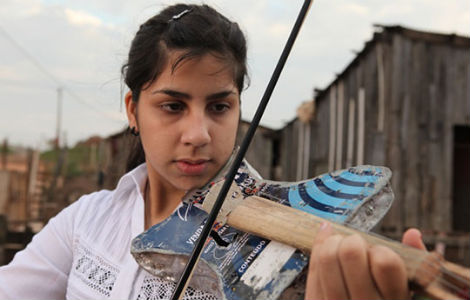 A violin made from trash recovered from a landfill in Cateura, Paraguay.