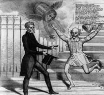Van Buren being chased by a flying barrel of hard cider.