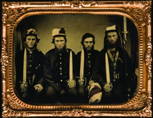Four fierce-looking members of the 22nd Georgia. Some believe the object in the hand of the soldier on the left is a confederate grenade, but I'd like to think it's actually an apple.