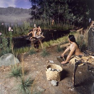 Depiction of a Pequot Village in the Pequot Museum