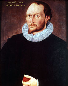 Thomas Harriot, holding an apple.