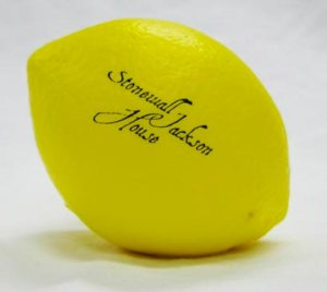 Stonewall Jackson foam stress-relieving lemons are available in the gift shop at his Lexington, VA home.
