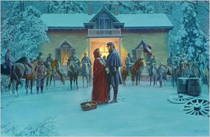 Popular Civil War Artist Mort Kunstler depicts a farewell scene with his beloved wife, in front of the Winchester home that served as his headquarters.
